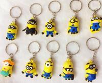 20pcs EPACK gratuits Cartoon Movie Key Chain Despicable Me 3D Eye petits Minions Figure Kid jouet cadeau KeyChain gens jaunes Key Ring mon