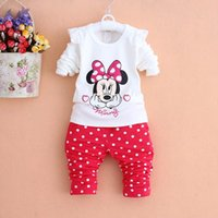 Minnie Mouse Girls Baby Cartoon 2pcs Suits Sets Long SleeveT...
