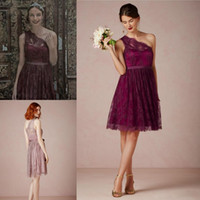 2015 Cheap Short Grape Mauve Bridesmaid Dresses Lace Sheer O...