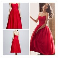 2015 Red Sweetheart Bridesmaid Dresses Free Shipping Tea- Len...