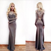 Long Sleeves Crystal Sheath Long Evening Dresses 2016 Custom...
