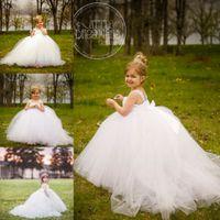 Миниатюрные невесты белого цветка платья девушки со съемными поезда козлят Девушки свадебное платье партии Пром платья девушки Pageant платье