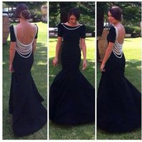 2015 Black Crystal Pearls Backless Mermaid Evening Dresses S...