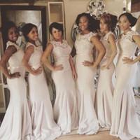 2016 African Mermaid Long Bridesmaid Dresses Crew Neck Lace ...