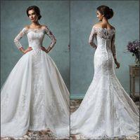 2016 New Sexy Sheer Long Sleeves Mermaid Full Lace Wedding D...