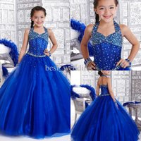 Beautiful Royal Blue Kids Pageant Events Dress Organza Beads...