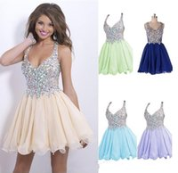 2015 Pretty Homecoming Dresses Sexy Deep V Neck Mini Chiffon...