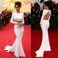 Two Piece Backless Chiffon Evening Dresses Met Gala Rihanna ...