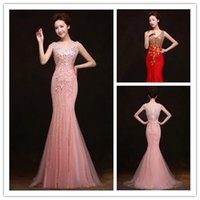 2015 Mermaid Sparkling Prom Dresses with Sequins Applique Co...