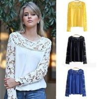 Blusas Femininas Primavera 2015 Lace Camicette chiffone casuali lace shirt Blusas camicette White Lace Crochet Plus Size Sheer Blusas G0856