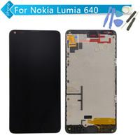 Vente en gros-Pour Nokia Lumia 640 écran LCD Touch Digitizer écran Assemblée Frame avec Microsoft logo + outils d'ouverture