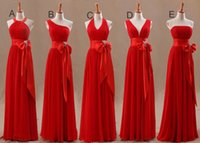 Free Shipping New Arrival Red Chiffon Bridesmaid Dresses Lon...