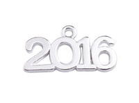 40PCS Jewelry Making 2016 Word Metal Charm Pendants