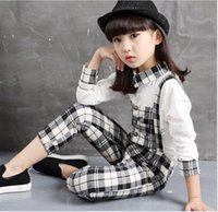 2015 American Style Childrens Fashion Plaid Long Sleeve Outf...