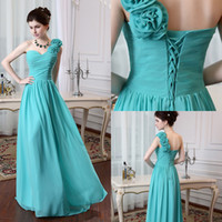 Real Images Bridesmaid Dresses 2014 One Shoulder With Hand- M...