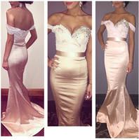 Арабский длинные платья выпускного вечера Русалка Custom Made 2016 с плеча кружева бисером Длинные платья невесты Sexy Backless оболочкой вечерние платья