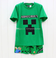 2015 kids new minecraft clothes suit 6- 12T boy t- shirts + Pa...