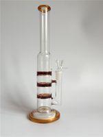 2015 L'eau libre de verre de perculator de disque d'ouragan de cyclone de trois couches de l'eau libre de verre de tubes de verre d'hublots de verre d'hublots avec 14.5mm joint