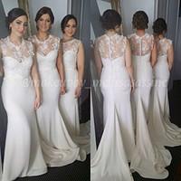 Платье -де- Дама де honra Модест высоким вырезом платья невесты Крытая Кнопка 2015 для торжеств и вечеринок формальный повод платья
