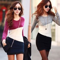 Autumn 2014 Women Casual Dress Fashion Long Sleeve Patchwork...