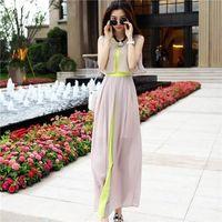 2015 summer chiffon skirt slim waist full dress bohemia beac...