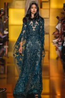 2016 Elie Saab Formal Evening Dresses Dark Green Sheer Neck ...