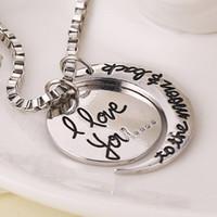 I Love YouTo La Lune Et Le Retour gravure de lettre Pendentif colliers Amants de mode Bijoux en argent plaqué or colliers pendantsd