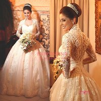 2015 Long Sleeves Lace Wedding Dresses High Collar Illusion ...