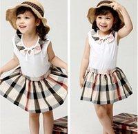 2015 Children Girls Summer Grid Pattern Sets Sleeveless Tops...