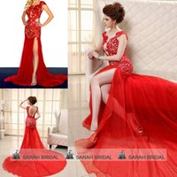 Best Selling Sexy Red Lace Prom Pageant Evening Dresses 2015...