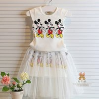 Summer girls cute suit Mickey mouse vest t shirt + gauze dres...