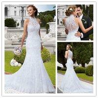 2015 Wedding Dresses Mermaid Wedding Dress High Neck Sheer N...