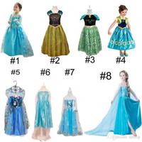 Принцесса Одежда Замороженные Elsa Принцесса платья Эльза Анна Платья Костюм 8 Стили Дети Halloween Party Dress