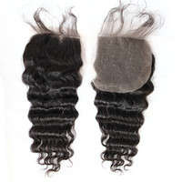 Unprocessed Brazilian Human Hair Weave Deep Wave Top Closure...