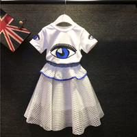 2015 Summer Girls 2pcs Sets Special Big Eye Print T- shirt + ...