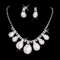 In Stock Cheap Pearls Necklaces and Ear Stud Earrings Bridal...