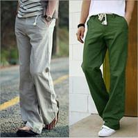 Novos homens lazer linho calças homens de algodão respirável fresco linho calças de linho parágrafo calças de frete grátis
