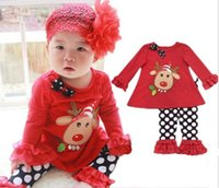 2- piece Santa Suit Cute Girl Christmas Deer Lotus Leaf Sleev...