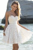 2015 Wedding Dresses A- Line Lace Beaded Sweetheart Short Bea...