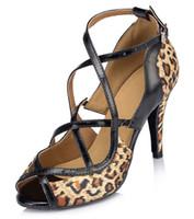 Wholesale- 2015 Fashion Leopard Satin Latin dance shoes Women...