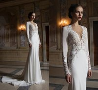 2016 New Lace Berta Wedding Mermaid Dresses Plunging Neck Ho...