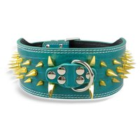 3 Inch Wide Leather Dog Collars Black Colors Gold Spiked Col...