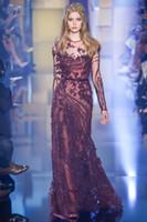 2016 Elie Saab Evening Dresses Burgendy Sheer Crew Neck Long...