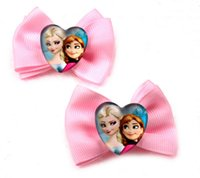 4 colurs 2014 frozen hair bows children hair accessory bows ...