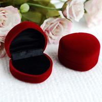 10шт форме сердца коробка ювелирных изделий кольцо Box Серьга окно Флокирование коробка Подарочная упаковка Wrap Свадебные сувениры