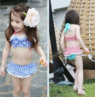 Korean 3pcs Swimsuits For Big Girls Plaid Children Girls Swi...