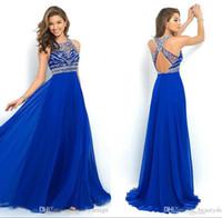 2016 Sheer шифон-Line Пром платья партии Royal Blue спинки Sparkly Бисероплетение Длинные вечерние платья знаменитости