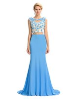 Grace Karin Sexy Two- Piece Set Floor- Length Mermaid Sheer Ba...