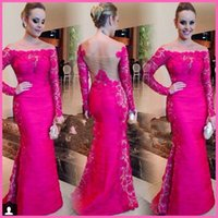 Hot Pink Evening Gowns with Long Sleeve 2015 Bateau Mermaid ...