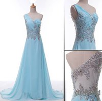 2015 Real Images One- Shoulder Prom Dresses with Crystal Bead...
